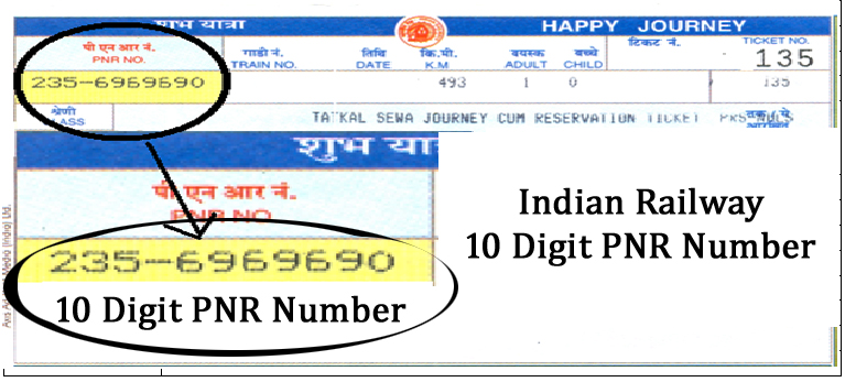 PNR status Live of your PNR number of Indian Railways